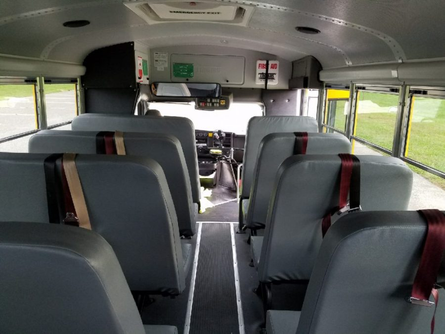 Interior view of bus looking forward