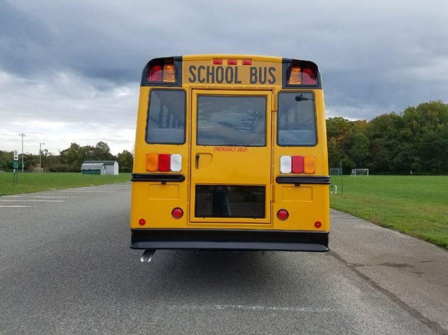 Back of school bus showing emergency exit door
