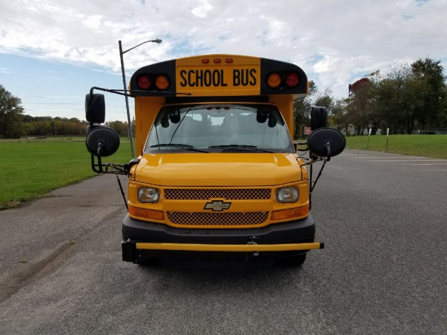Front view of a Thomas school bus nose