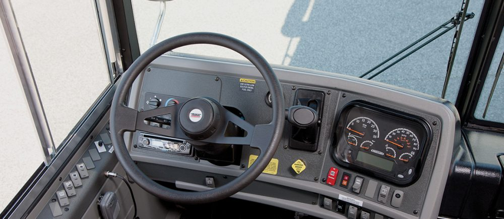 Interior drivers area of EFX showing steering wheel and controls
